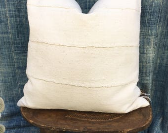 Mud Cloth Pillow, Made to order Natural Mud cloth pillow cover, Morrissey Fabric custom pillow, Linen Back