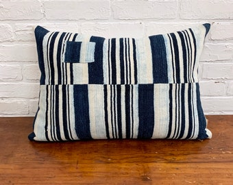Mud cloth stripe pillow, Vintage African mudcloth pillow, With Patch, lumbar Mud Cloth Pillow Cover