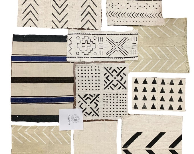Mud cloth remnants, Black and White Print Mudcloth scraps from Mali, African textile remnants