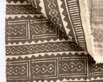 Mud Cloth textile, Mudcloth fabric, African Bogolan, Neutral mud cloth throw, Morrissey Fabric
