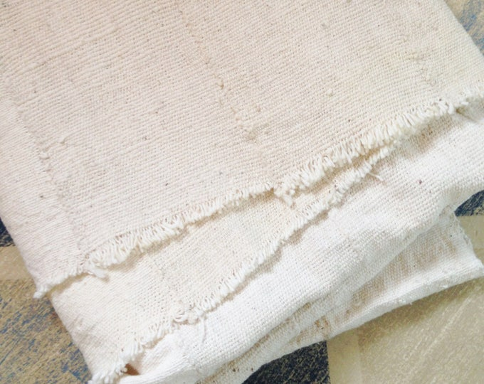 White Mud Cloth Fabric in a lighter weight, washed and ready to use mud cloth throw from Mali, Africa, Oyster color mud cloth