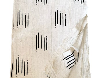 Mud Cloth fabric, Black and white print mud cloth, African mudcloth,