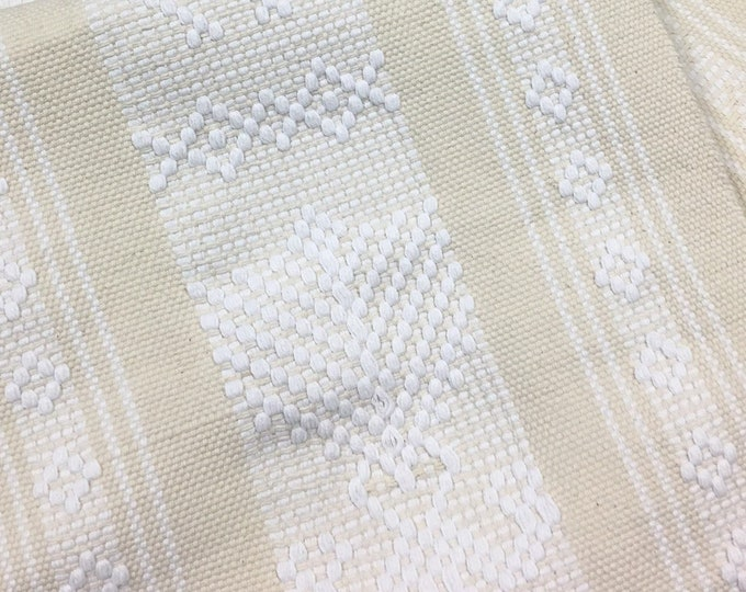"""65"""" Beige and white Boho Fringed Textile. Mexican table runner, Hand-Loomed, Southwestern Decor"""