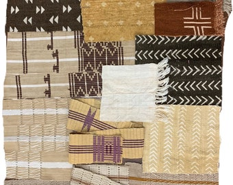 Mudcloth scraps, Assorted mud cloth scraps set of 12 African fabric remnants, mud cloth patches, morrissey fabric