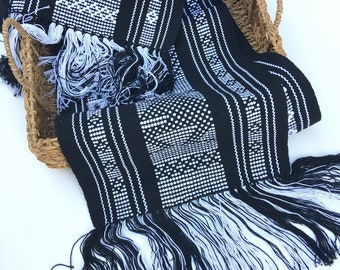 Boho Fringed Textile. Mexican table runner, Hand-Loomed, Black/white or White/Narural, Boho / Southwestern Decor