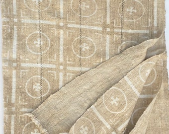 Mud Cloth textile, Mudcloth fabric, African Bogolan, Neutral color mud cloth throw, Morrissey Fabric