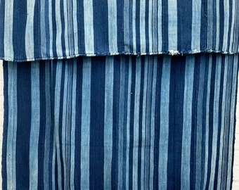 Vintage Mud Cloth, African Indigo Mudcloth Textile, Denim Blue striped mud cloth, Morrissey Fabric