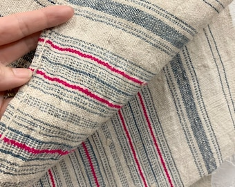 Hill Tribe Hemp Fabric,Vintage stripe fabric, Pinstripe hemp fabric, Natural color with blue and pink, Morrissey Fabric