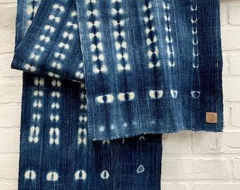 Mud Cloth Fabric, African tie dyed scarf, Vintage Mudcloth, indigo mudcloth, Hipster scarf