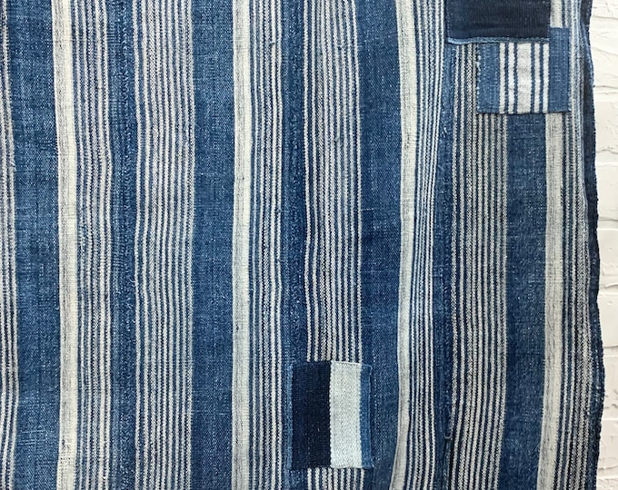 Mud Cloth striped throw, Indigo mudcloth with patches, Vintage African mud cloth fabric, Morrissey Fabric