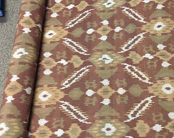 Brown earth tone Ikat Cotton, Indian Ikat Upholstery Fabric, Neutral PIllow Fabric, Neutral Fabric, Morrissey Fabric
