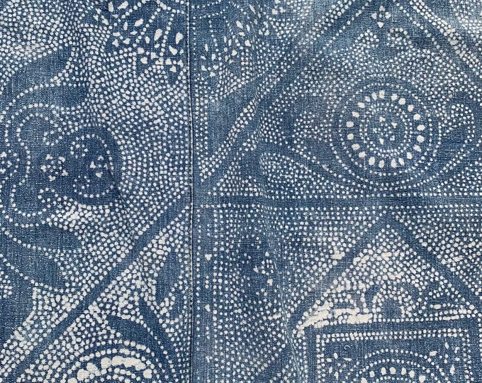 Vintage Batik Fabric, Batik Wall Hanging, Boho Vintage Indigo Bedcover, Chinoiserie style, Morrissey Fabric