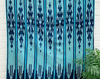 Mud Cloth, Vintage Baule Cloth, Turquoise color African mud cloth, vintage indigo, Morrissey Fabric