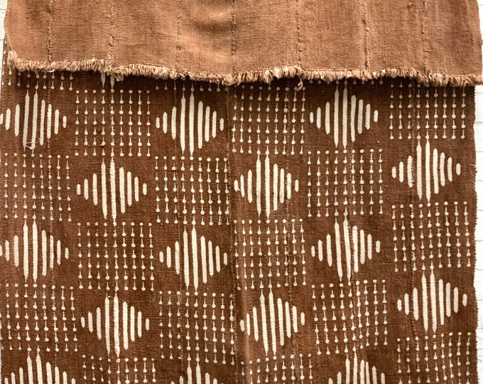Mud Cloth textile, Authentic African Fabric, Rust Color mudcloth, Morrissey Fabric