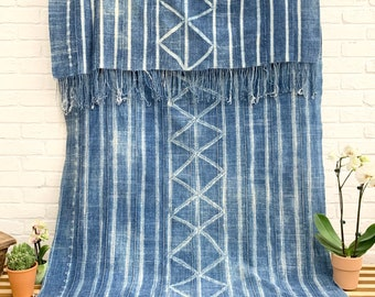 Mud Cloth African Indigo throw, Blue and White rustic Shibori vintage textile, Morrissey Fabric