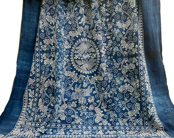 Batik Fabric, Vintage Indigo Bedcover, Hand made fabric, Chinoiserie style, Morrissey Fabric