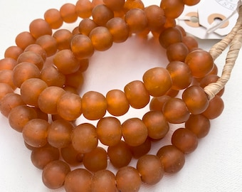 Glass Bead Strand, Glass Beads from Africa, Rusty orange color, Hand Made Recycled Glass Beads, Morrissey Fabric