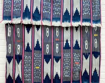 Mud Cloth fabric, Vintage Baule Cloth from the Ivory Coast of Africa, Blue with blue mud cloth, vintage indigo fabric