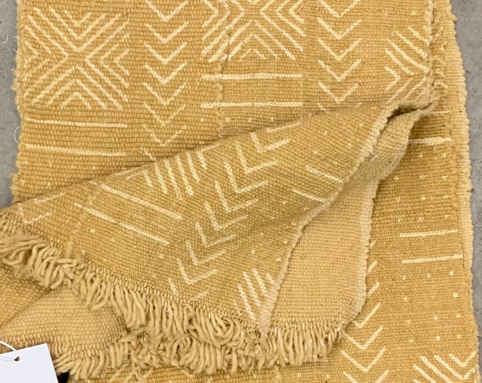 Mud Cloth table runner, Tribal print African mudcloth fabric, Mustard color Mudcloth, Morrissey Fabric