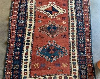 Oriental Rug, Rust and Navy Vintage Carpet, Carpet Bag Rug, Rustic decor, Bohemian Rug