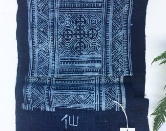 Batik Cloth, Vintage Indigo Batik Hemp Fabric, Boho Style Fabric, Dong Hill Tribe, Asia
