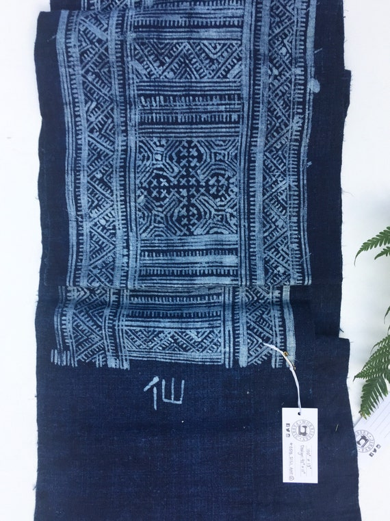 Completely hand crafted Asian Hill Tribe Midnight Blue and White Batik Fabric Boho Style Fabric
