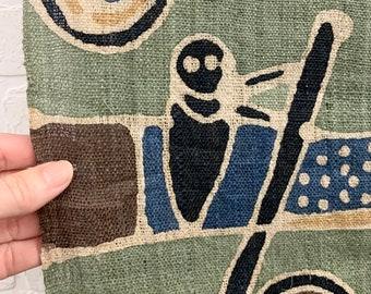 Vintage Asian Hemp Fabric, conversational textile print, boho table runner, Morrissey Fabric