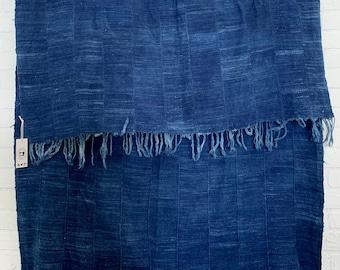 Mud Cloth, Dark Indigo Blue Mudcloth, Vintage African Mudcloth, Tribal indigo throw, Modern Mud, Morrissey Fabric