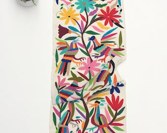 Otomi Fabric, wall art, Mexican Tenango, Otomi Embroidery,Hand-embroidery on Ivory Cotton