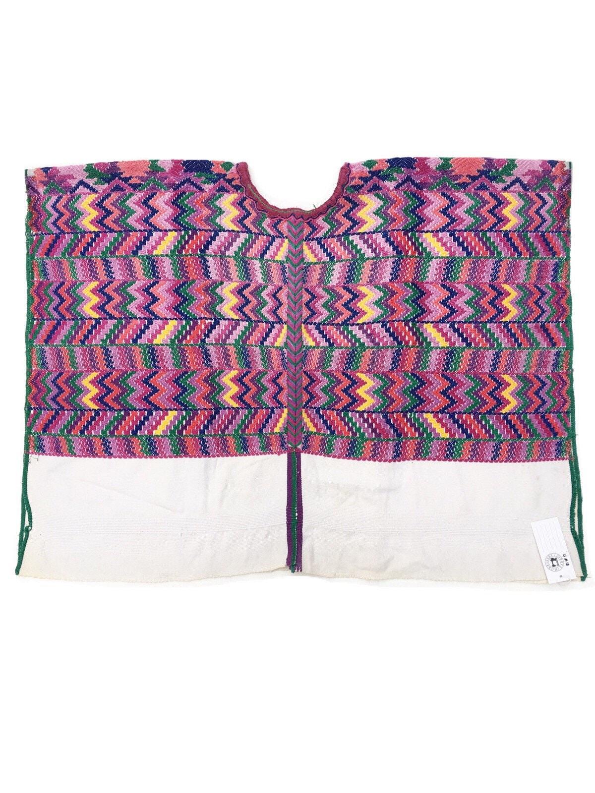 Boho Poncho Bohemian Top Guatemalan Fabric Guatemalan Huipil