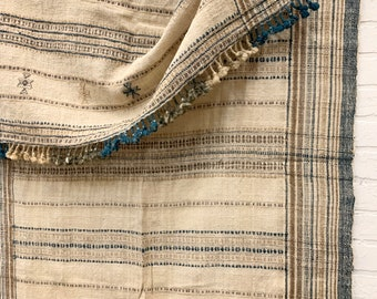 Vintage Wool Throw, Bhujodi Textile, Pure Wool decor, Stripes in Coastal Colors, Morrissey Fabric