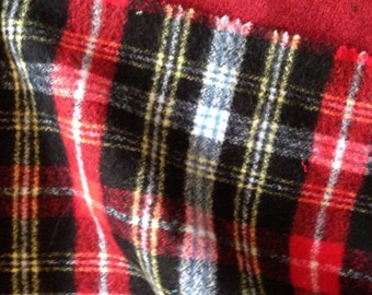 Plaid Flannel Fabric, cotton flannel, scarf or shirt fabric, hipster plaid, rocker plaid