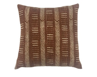 Mud Cloth Pillow, Tribal Mudcloth Pillow, African mud cloth pillow, Rust pillow cover, Linen Back, Premium quality