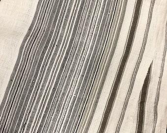 Hill Tribe Hemp Fabric, Black & natural stripe fabric, Pinstripe hemp fabric, Vintage neutral fabric, Morrissey Fabric