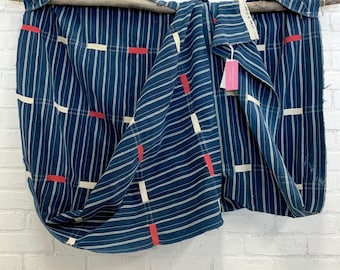 Vintage African Ewe Kente cloth, Indigo Blue with white and red accents, vintage indigo textile, Morrissey Fabric
