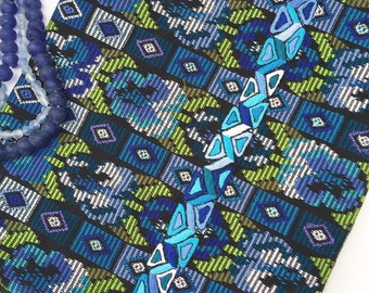 vintage Guatemalan Fabric, Turquoise and Black Guatemalan Textile, Embroidered Corte Cloth, Morrissey Fabric