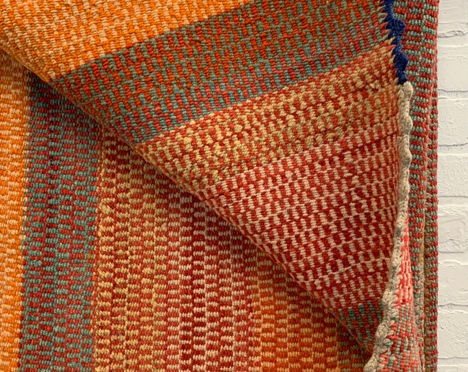 Vintage Frazada Wool Blanket, colorful Throw from South America, Naturally dyed colors, Boho Style