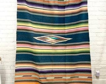 Vintage Mexican Blanket, Collectible Saltillo Blanket, Southwestern Serape, Morrissey Fabric