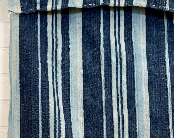 Mud Cloth striped throw, Indigo mudcloth with patches, Vintage African mud cloth fabric, blue and white stripes, Morrissey Fabric