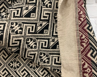 Vintage Hill Tribe Fabric, Miao Hmong Chinese Textile, Black and Taupe fabric, Morrissey Fabric
