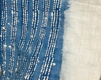 Vintage Batik Fabric, Indigo Hemp Fabric or table runner, Boho Decor, Morrissey Fabric