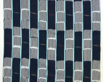 Indigo Baule cloth, vintage Mud Cloth, Indigo blue and white, Vintage Baule Ikat Strip Cloth
