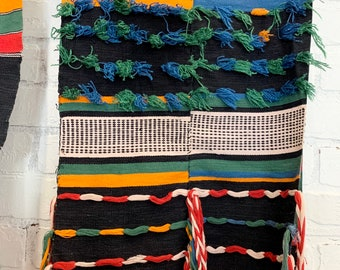 Vintage African Fulani textile, Africana textile wall art, African table runner, Morrissey Fabric
