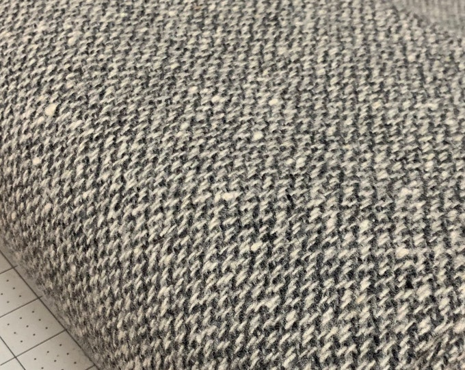 Wool FABRIC by the yard, coat or upholstery cloth, Gray/Natural pure wool fabric, Yarn Dyed Textile, Morrissey Fabric