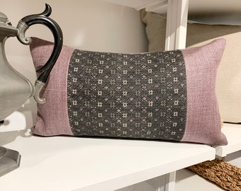 Hmong Pillow Cover, Vintage textile pillow, lumbar pillow cover. Accent pillow, Morrissey Fabric