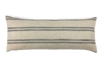 Farmhouse Decor Pillow, Striped Rustic Style Accent cushion, Lumbar pillow cover, Morrissey Fabric Custom Pillows