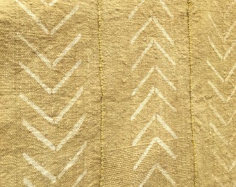 Yellow Mud Cloth throw, Mustard color with chevron pattern. Pre-washed Authentic African Fabric, Pillow cover mud cloth fabric