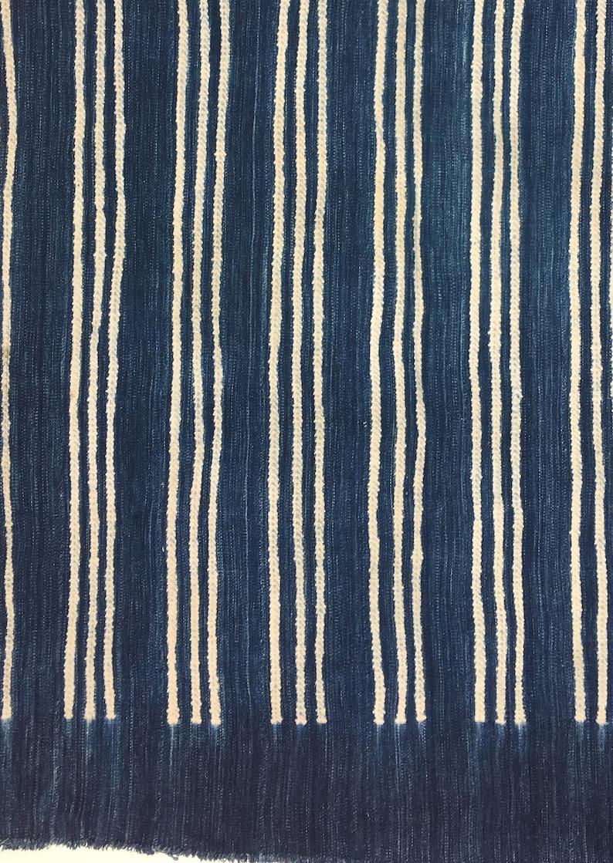 Blue and White Fabric Vintage African Indigo Mudcloth Textile Boho Home Decor
