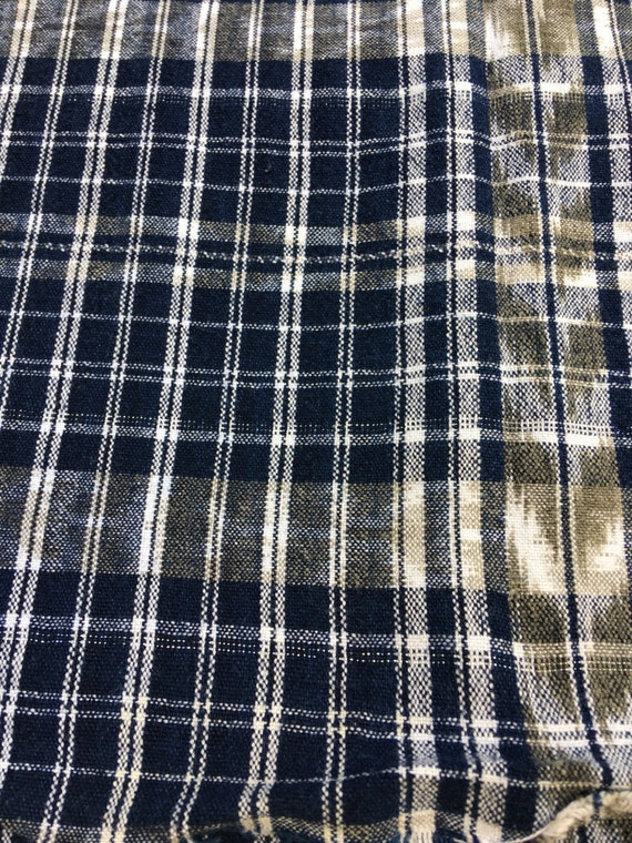 Tissu guatémaltèque, Vintage coton, bleu, blanc, noir d'éclat, Ikat, soupçon d'éclat, noir Boho Home Decor 5ee07d