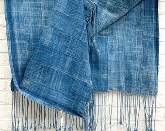 Mud Cloth throw, Indigo mudcloth fabric or scarf, Vintage African mud cloth fabric, Morrisseyfabric